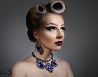 necklace  earrings soutache