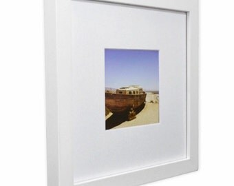 "8x8"" Square Wood Photo Frame with Mat and 4x4"" Opening"