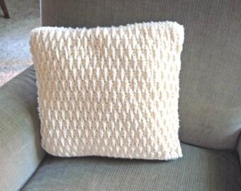 White Throw Pillow//Custom Throw Pillow/Neutral/Pillow Case/Custom Pillow Case/Organic material/Knit Crochet