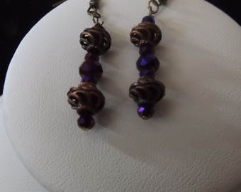 Bronze Spiral with Purple Accents Drop Earrings