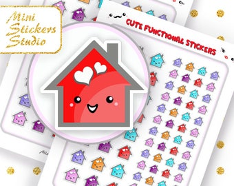 Cute House Planner Stickers Mambi Happy Planner Filofax Erin Condren Kawaii Kikki K Accessories Sticker Silhouette