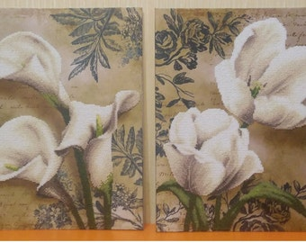 Callas and Tulips beads embroidered picture