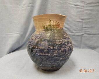 """Salt Pottery Vase stands 9"""" tall TRI-COLOR"""