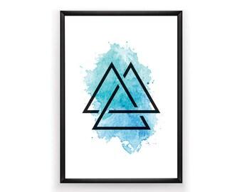 Geometric Print, Aqua Prints, Abstract Print, Printable, Geometric Artwork, Digital Prints, Abstract Art, Instant Download, Art,