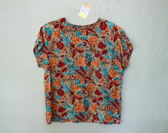Vintage Floral Silk Short Sleeve Top *Flat Rate Shipping* [Cute Vintage Top Shirt Blouse Women's Size 14 Large]