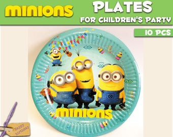 Minions Paper plates. Paper plate for children's party or birthday. Set of 10. Minions Paper plate for theme party.