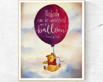 Winnie the Pooh Nobody can be Uncheered Quote, Wall Art Print, Nursery Decor, Printable Digital Download, Large Poster