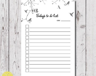 to do list, list planner, A5 size black printable to do list