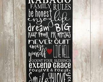 Family sign|family rules|family rules sign|custom name|living room decor|living room wall art|wall decor living room|living room art