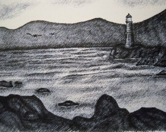 Pen Drawing With Lighthouse in Black White on White Paper with Black Ink on A4 Paper Size, Nature Art Wall Decor