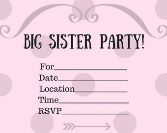 Big Sister Party Invitations