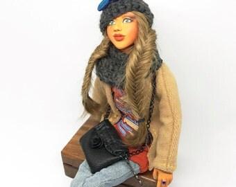 Handmade polymer clay, winter girl, relaxing, handmade