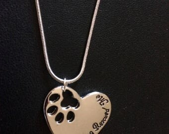 """Free shipping.  Silver tone """"My Dog Rescued Me"""" necklace"""