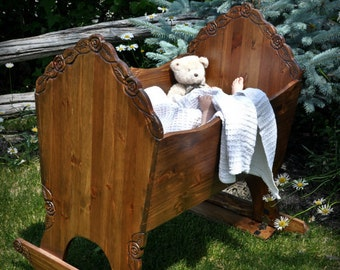 Rocking cradle in the Rose, Robin or Sunset model, woodworking plans.