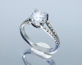 499 Split shank micro-pave round diamond engagement ring for 1.2-1.5 ct diamond.