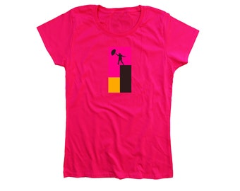 "Designer t-shirt ""Jump"" high quality 100% cotton pink tee fashion collection limited edition (men / women)"