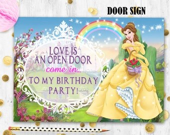Princess Belle Door sign Beauty and the Beast birthday door sign Printable digital door sign