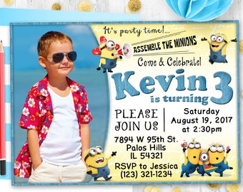 Minions Invitation Printable Minions Birthday Party Invitation Despicable me Banana Minions