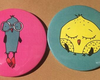 Chicken/Bird Pocket Mirror -  Hand mirror - pocket mirror - hand held mirror - handbag mirror - small mirror -Easter gift - Birthday Gift