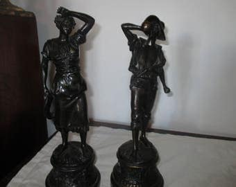French Spelter Male & Female Figures --   Bronzed - Vintage - A Pair