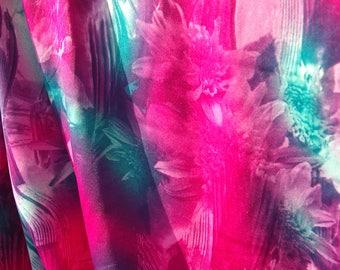 Cerise Turquoise Glitch Flower Print