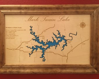 Engraved Lake Map, Custom Wall Art, Custom Map, Cabin sign, Laser Engraved, Mothers day, Fathers day, Easter, Framed Map, Topographic Map