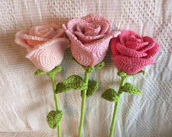 Crochet Rose Flower (Made to Order)