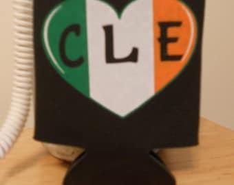 Black Irish Flag Heart CLE Can Koozie