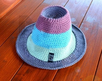 Crochet Hat cotton pink blue-Mint grey