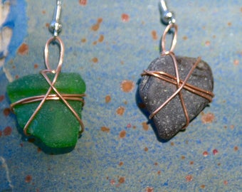 Wire Wrapped Sea Glass Earrings