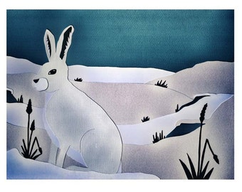Winter Hare - A3 high quality pint from an original paper cut illustration.