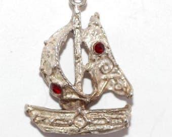 Vintage Sterling Silver Bracelet Charm 3d Sailboat Crystal Set (3.9g)