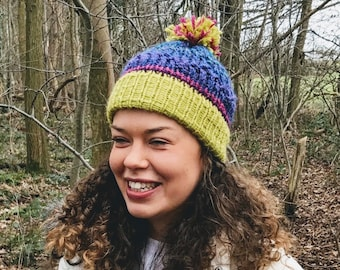 Lime, Purple and Pink Knitted Bobble Hat