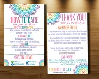Customer Thank you Card with care instructions, Happiness Policy, Return policy. Care card, 4x6'', Mandala, Home Office Approved Color&Fonts
