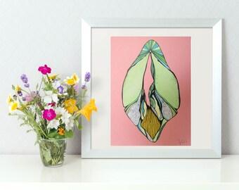 Vulva, Vagina Art, Pussy Diversity, Original Painting, A5, Sex Positive , Feminist Art,