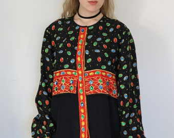 Vintage Silk Shirt with Gemstone Details
