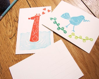 ANIMALS cards x 2 Giraffe and bird