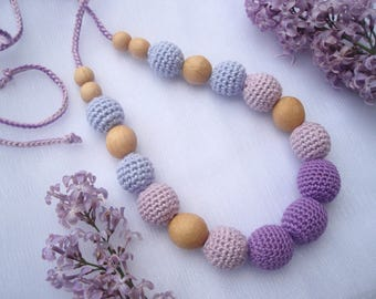 Lavender nursing teething breastfeeding necklace for moms baby shower gift crochet necklace for newborn collier de dentition crochet jewelry