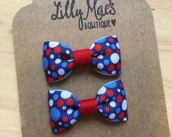 Red white & blue Mini Tuxedo Hair Bows, baby and toddler hair clip, mini bow