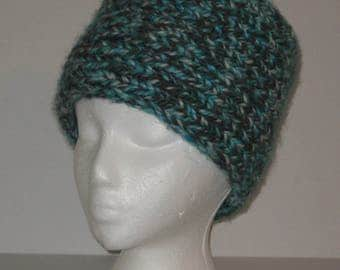 "Hand Knitted Thick 6"" Wide Ear/Neck Warmer Headband Turquoise/Gray/White"