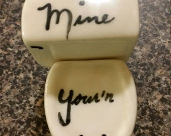 Vintage Ceramic Toilet Salt and Pepper Shaker Set