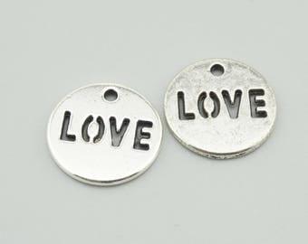 30pcs 14mm Antique Silver Love Charm Pendants  ZX006