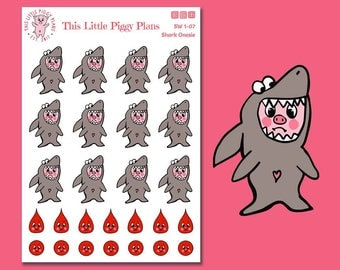 Shark Suit - Shark Week Period Stickers - Period Tracker Stickers - Planner Stickers - Shark Stickers - [SW 1-07]