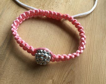Pink and silver macrame bracelet