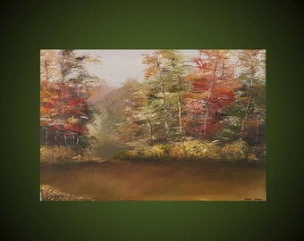 Original oil painting on canvas, forest, trees, colorful, Home Deco, size 40 * 60