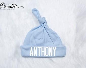 Hospital Newborn Hat, Newborn Baby Boy Hat, Knotted Newborn Hat, Knot Baby Hat, Infant Cap, Personalized Baby Hat, Newborn Name Hat P53