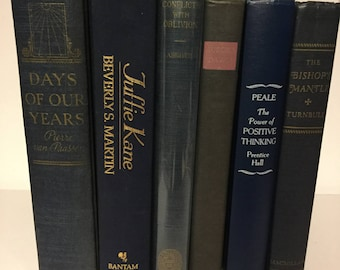 Vintage book lot/collection of Blue, Navy blue books shades photo prop, wedding decor, home decor, old books, background lot 8