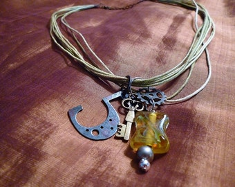 Mixed Steampunk Charm Cord Necklace