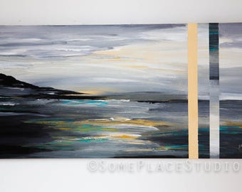 Grey and Yellow original Art. Icelandic painting by Irish Artist. Abstract contemporary art. Unusual art modern painting by popular artist
