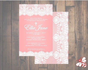 Pink Lace Baptism or Christening Invitation